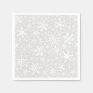 Snowflakes in Silver | Holiday Napkins Paper Napkins