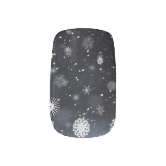 Snowflakes In The Night Nail Wraps