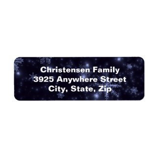 Snowflakes Midnight Blue Background Address Labels