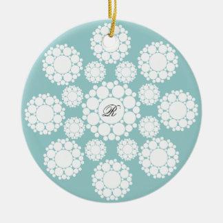 Snowflakes Monogram First Christmas Photo Ornament