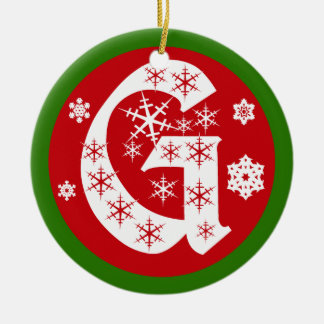 Snowflakes Monogram Letter G Ceramic Ornament