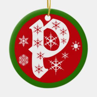 Snowflakes Monogram Letter P Round Ceramic Decoration