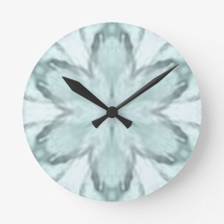 Snowflakes of blue round clock