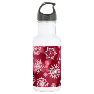 Snowflakes on a Valentine Background Water Bottle