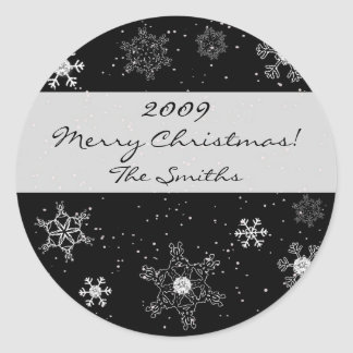 Snowflakes on Black Diamond Background Stickers