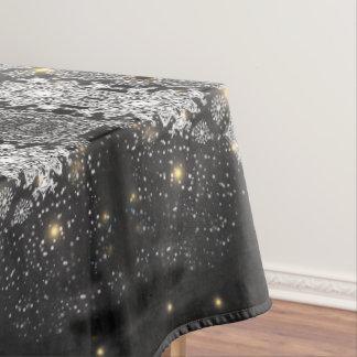 Snowflakes on Black Table Cloth