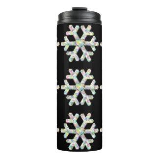 Snowflakes on Black Winter Thermal Tumbler