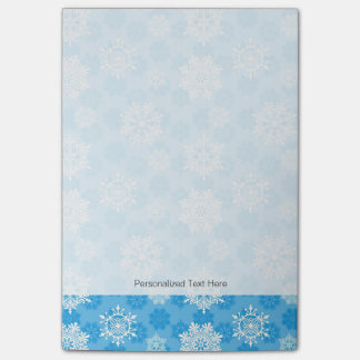 Snowflakes on Blue Background Post-it® Notes