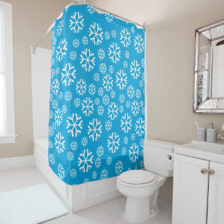 Snowflakes on Blue Background Winter Theme Shower Curtain