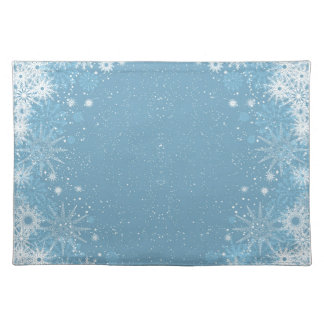 Snowflakes on Blue Placemats