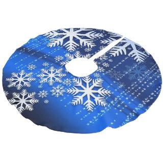 Snowflakes on Blue Royal Faux Linen Tree Skirt