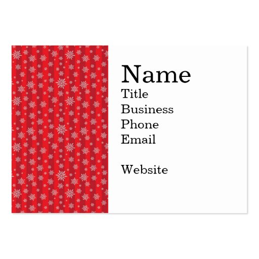 Snowflakes on Bold Red Striped Pattern Business Cards