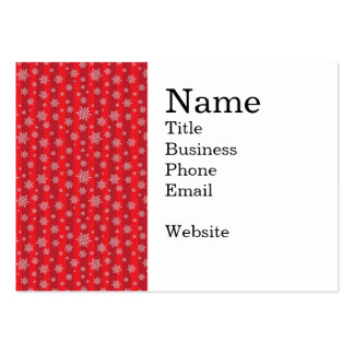 Snowflakes on Bold Red Striped Pattern Pack Of Chubby Business Cards