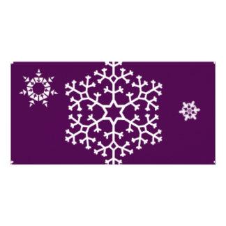 snowflakes_on_dark_magenta photo cards