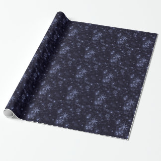 Snowflakes on Deep Blue Background Wrap Paper Gift Wrapping Paper