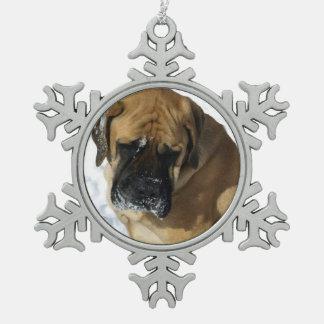 Snowflakes on English Mastiff Christmas ornament