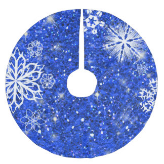 Snowflakes on Glitter Blue SOG Brushed Polyester Tree Skirt
