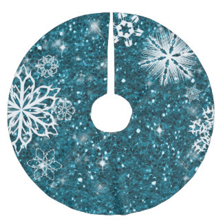 Snowflakes on Glitter Turquoise SOG Brushed Polyester Tree Skirt