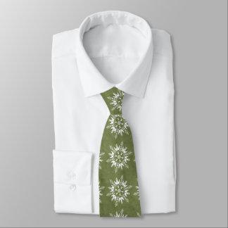 Snowflakes on Green Tie
