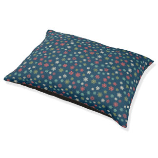 Snowflakes on Navy Blue Pattern Pet Bed