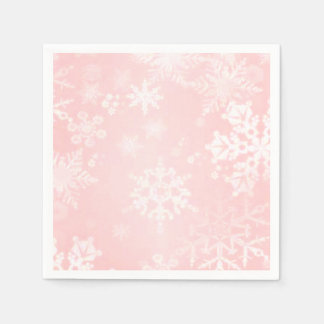 Snowflakes on Pink Paper Napkins Disposable Serviette