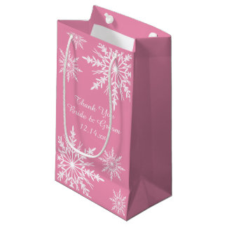 Snowflakes on Pink Winter Wedding Thank You Small Gift Bag