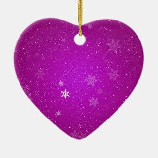 Snowflakes on Purple Sparkles Ceramic Heart Decoration