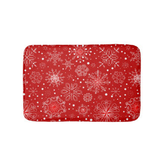 Snowflakes on Red Background Bath Mat