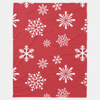 Snowflakes on red background - Christmas gifts Fleece Blanket
