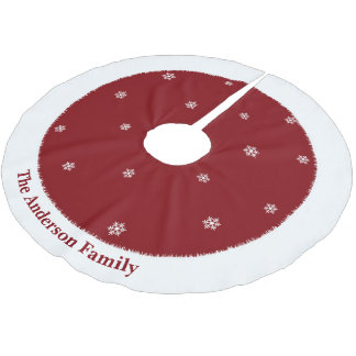 Snowflakes on red background Christmas tree skirt