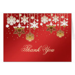 Snowflakes on red Christmas Wedding Thank You Note Note Card