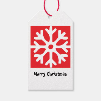 Snowflakes on Red Gift Tags