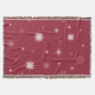 Snowflakes on Red Throw Blanket