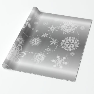 Snowflakes on Silver Wrapping Paper