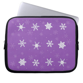 snowflakes on the violet background laptop sleeve
