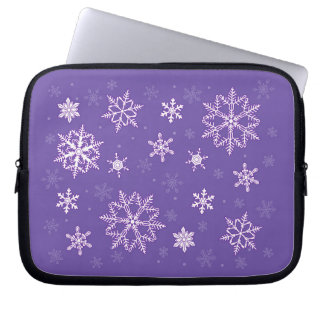 snowflakes on the violet laptop sleeve