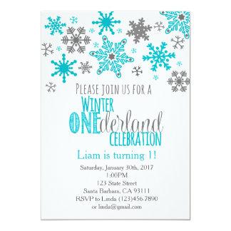 Snowflakes ONEderland Birthday Invitation-Aqua Card