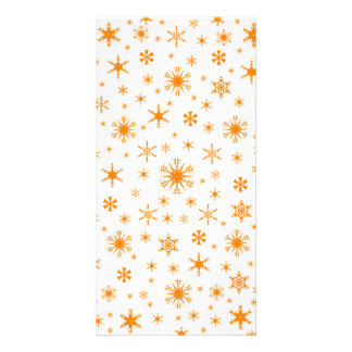 Snowflakes - Orange on White Photo Card