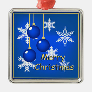 Snowflakes Ornaments Blue Merry Christmas
