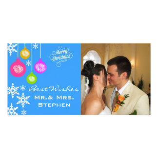 Snowflakes Ornaments Our First Christmas PhotoCard Custom Photo Card