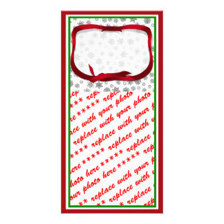 Snowflakes Outlined with Red Ribbon Tag Picture Card