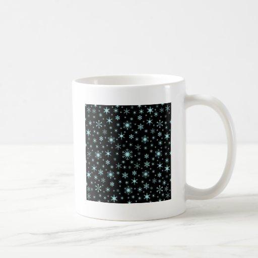 Snowflakes – Pale Blue on Black Coffee Mug