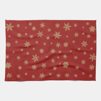 Snowflakes Pattern Gold on Red Towels
