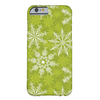Snowflakes Pattern on Green Barely There iPhone 6 Case