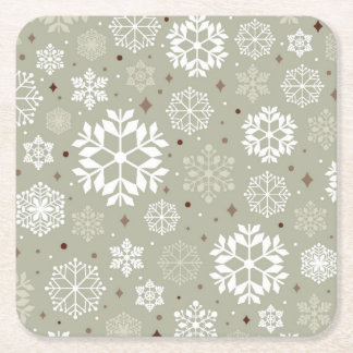 Snowflakes Pattern on Pastel Square Paper Coaster