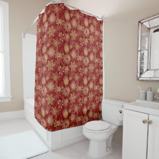 Snowflakes Pattern on Red Shower Curtain