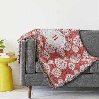 Snowflakes Pattern on Red   Throw Blanket