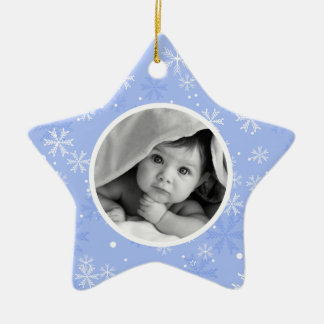 Snowflakes Pattern Photo Christmas Ceramic Star Decoration