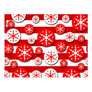Snowflakes pattern - red and white postcard