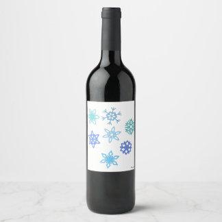 Snowflakes Pattern Wine/Champagne Bottle Label